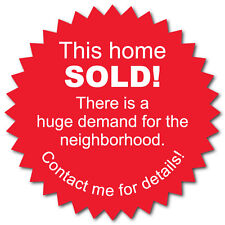 This Home Sold 2 Inch Burst, Red & White, Roll of 500 Stickers