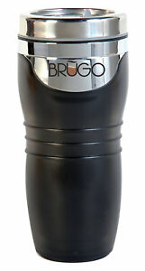 1 BRUGO Coffee To Go Becher, schwarz, 360ml, Thermobecher Kaffee Tee Reisebecher
