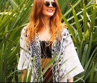 STEVE MADDEN Aztec Printed White & Black Long Open Front Kimono OS Free People