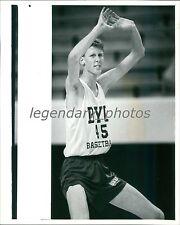 1990 Shawn Bradley at BYU Basketball Practice Original News Service Photo