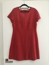 Oliver Bonas Coral Pink Broderie Anglais Lacey Fit & Flare Dress Size 14 Summer