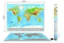 Wonderful Maps Scratch Off World Map with Country Flags