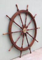 "72"" WOODEN SHIP WHEEL ~ BOAT~ PIRATE ~ NAUTICAL ~ HOME DECOR ~ TEAK WOOD WHEEL"
