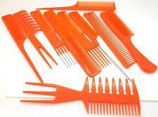 10 PEZZI Set per capelli Styling pettine spazzola professionale Arancione Barbieri di alta qualità