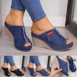 Damen Wedges Keilabsatz Sandalen Pantoletten Sandaletten Freizeit Sommerschuhe