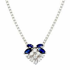 Saphir Echte Diamanten-Halsketten & -Anhänger im Collier-Stil aus Weißgold