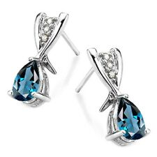 LONDON BLUE TOPAZ & DIAMOND EARRINGS 1.03 CWT 10 k WHITE GOLD AAA  EARTH MINED