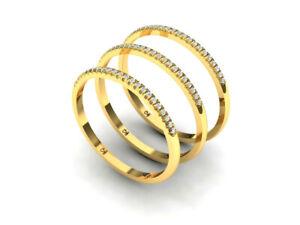 14K Gold Half Eternity Ring Band 23 Natural Diamonds Stackable Ring Thumb Ring