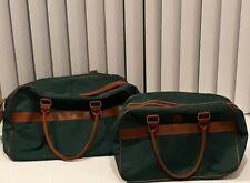 Vintage Polo Ralph Lauren 2 Pc. Canvas Travel Duffle Bags Hunter Green Lg & Med