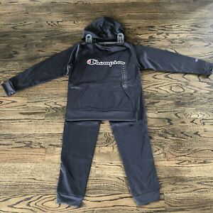 Champion boys active gray embroidered Logo 2 piece hoodie and pant set NWT!