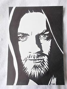A4 Art Marker Pen Sketch Drawing Ewan Macgregor as Obi Wan Kenobi from Star Wars