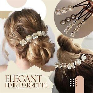 Hair Barrette Bun Maker Wedding Hair Cuff Pin Clip Artificial Pearl Chains Party