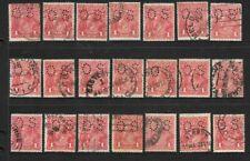 Stamps Australia Bulk 1d Red  KGV 'OS' Heads x 21 good/fine used