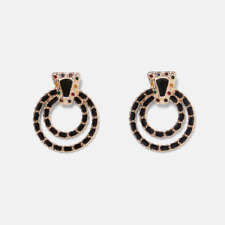 Circle Crystal Gemstone Statement Gold Plated Drop Earrings. Zara Jewellery