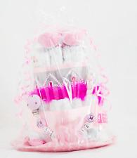 Windeltorte + Schnullerkette mit Namen ♥ SCHWESTER ♥ Babygeschenk Mädchen rosa
