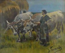 Jozef FERENCZY (1866-1925) Gemälde um 1890: BÄUERIN MIT OCHSEN BEI DER HEUERNTE