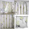 """Ochre Grey Firenze Floral Printed Lined 3"""" Tape Top Pencil Pleat Curtains Pair"""