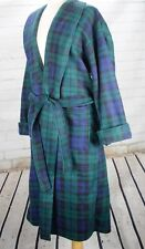 Christian Dior Men's Robe / Smoking Jacket Green Blue Plaid Soft, Thick Fleece