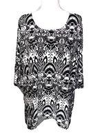Maggie Barnes Top 1X 18W 20W Floral Pullover Stretch Plus Size Black White