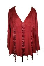 Dark Star Blouse Red Lace and Poly Silk Material. Size 14