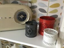Next Tea Light Holders Set Of 3 Patterned Decorative Metal Lace Red White Grey