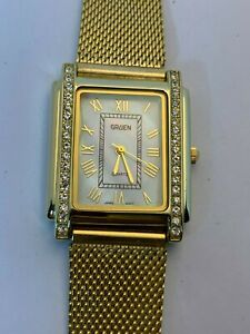 Working Ladies Gold Gruen Quartz Watch DO