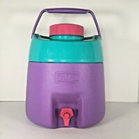 Vtg Thermos Purple Pink Teal Water Jug 8L, 2 Gal 7908 Canada, 1990s Bold Colors