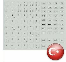 TASTATURAUFKLEBER TÜRKISCH TÜRKEI KEYSTICK KEYBOARDSTICKER GRAU GREY FOR FSC