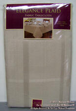 "NEW ELEGANCE PLAID BEIGE TABLECLOTH 60 x 120"" Oblong SPRING SUMMER HOME DECOR"