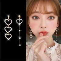 1Pair Pearl Korean Heart Earrings Crystal Dangle Ear Stud Long Tassel Jewelry