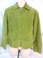 Live a Little Womens Suede Leather Jacket Sz Large Green Snap Front Lined GG261