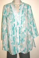 JM Collection Woman 3/4 Sleeve Linen Print Button Down Shirt Plus Size 14W