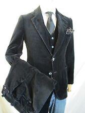 BLACK VELVET true vintage 70s three piece jacket vest pants suit 28x34 38R