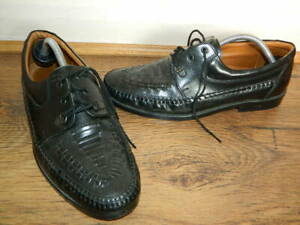 mens Clarks black leather cross lace up shoes uk 7.5