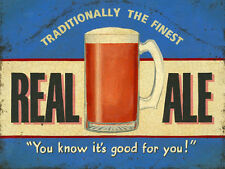 Real Ale, Retro Pub Bar Cafe Restaurant, Drink Bitter Beer, Small Metal/Tin Sign