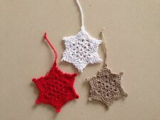 Three Hand Crochet Star Christmas Decorations  Very Quick Delivery