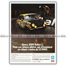 PUB SIMCA 1000 RALLYE 2 - Original Advert / Publicité 1973