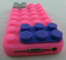 PINK LEGO TOY BLOCKS SOFT SILICONE RUBBER SKIN CASE COVER APPLE IPHONE 5 ONLY