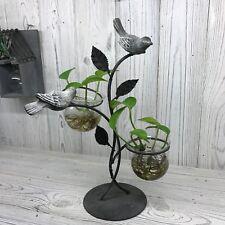 Hydroponic Pot Plant Flower Holder Display Vase - 2 Birds - Metal Frame - SALE!