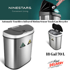 Automatic Touchless Infrared Motion Sensor Trash Can/Recycler 18 Gal 70 L Silver