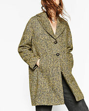 ZARA OVERSIZED WOLLE MANTEL WOLLMANTEL JACKE WOOL BOUCLÉ COAT JACKET SIZE M L