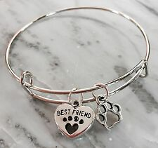 Best Friend ❤️ & Dog/Cat Paw 2 Silver charms Expandable Bangle Bracelet