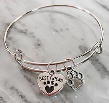 Best Friend ❤️ & Dog/Cat Paw 2 Silver charms Expandable Bangle Bracelet