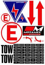 Motamec Racing MSA Scrutineer Safety Decal Stickers Sheet Electrical Cut Off etc