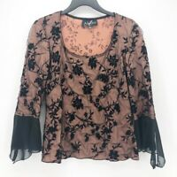 Alago Womens Blouse Black Beige Floral Bell Sleeve Scoop Neck Stretch Lace Top S
