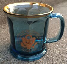 Air Force 1 One President The United States Glass Mug Blue Coffee Cup 2004