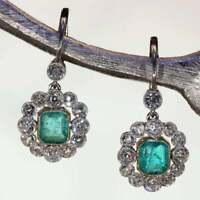 2.5Ct Art Deco Emerald Diamond Cluster Women's Earrings 14K White Gold Finish