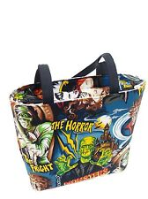 MONSTERS HORROR HOLLYWOOD MOVIES HALLOWEEN PATTERN, COTTON, NEW