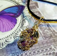 AWESOME HAND-CRAFTED GOLD-WIRE-WRAPPED TOURMALINE PENDANT   1-3/4 INCHES