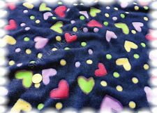 Fleece Herzlich dunkel blau Wellnessfleece Plüsch 50 cm Jaquard Fleece Herzchen
